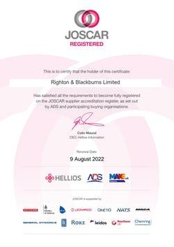 Cover image for JOSCAR 2021 Certificate Righton Blackburns Limited