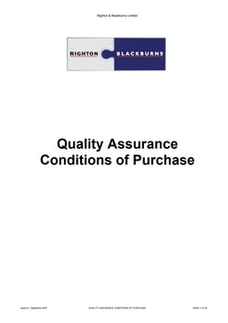 Cover image for Righton Blackburns Limited Quality assurance purchase