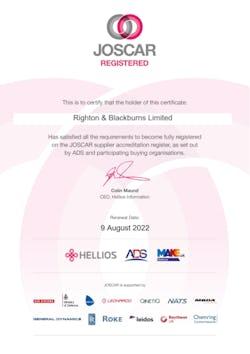 Cover image for JOSCAR Certificate Righton Blackburns Limited