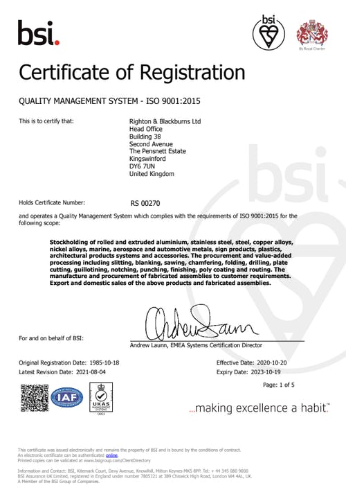 Cover image for Iso 9001 righton blackburns limited