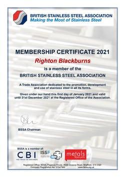 Cover image for Righton Blackburns BSSA Member Certificate